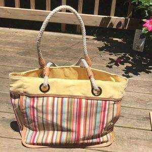 Strada Canvas Yellow w Mix Stripe Handbag Tote